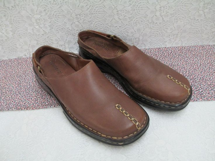 Azaleia Clogs Mules Shoes with Back Strap Stitching Decor Brown Womens 8 1/2 M #Azaleia #Clogs