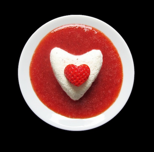 for the foodies... coeur a la creme in strawberry rose sauce | Food ...