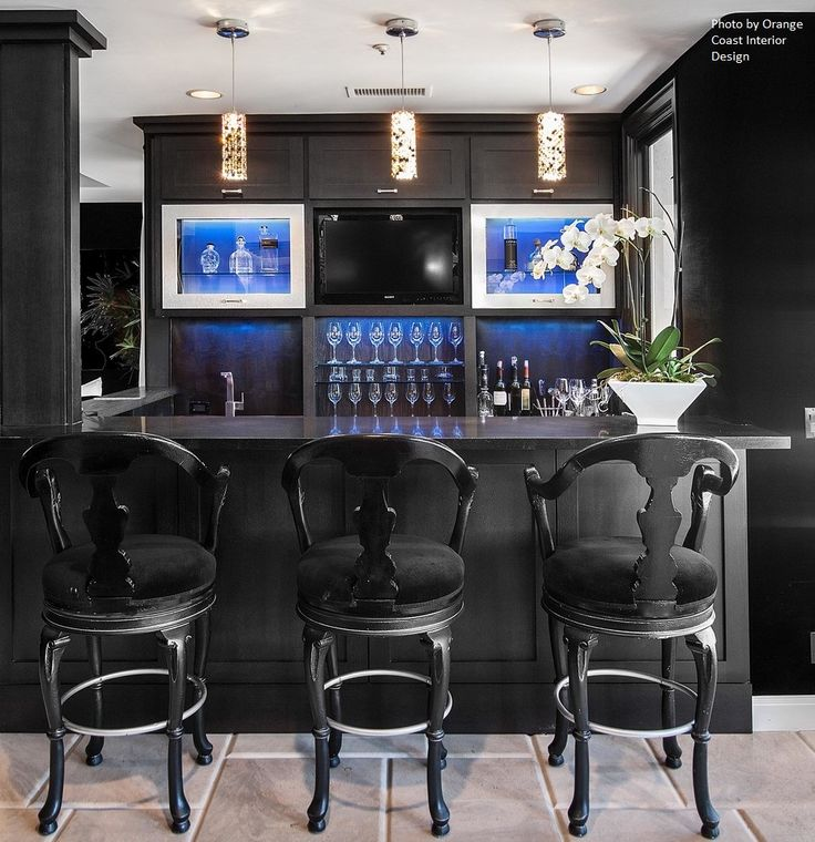 All Black Bar Area, Modern Lantern Lighting And Open Shelving Is A Sure Way  To