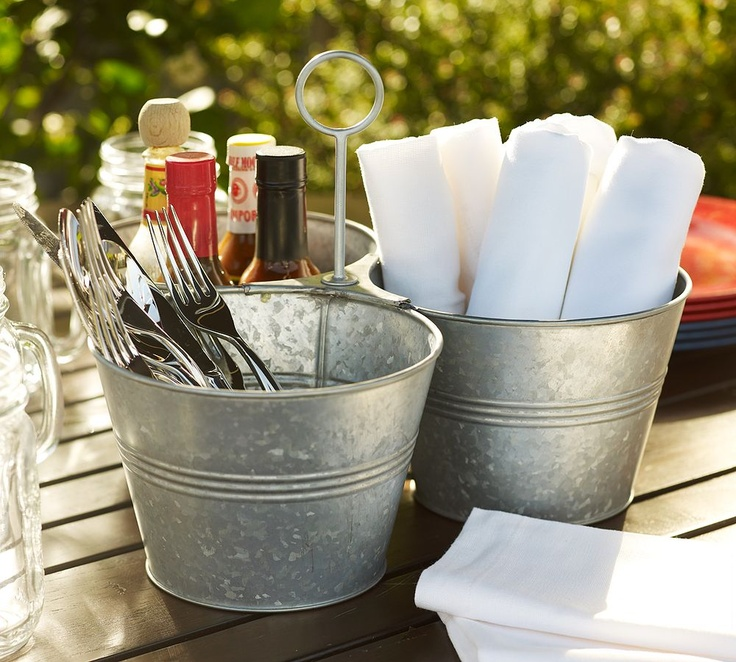 BBQ organization. The link doesn't work but I do love the pail idea