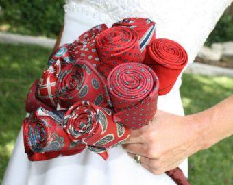 Upcycled Red Necktie Wedding Bouquet