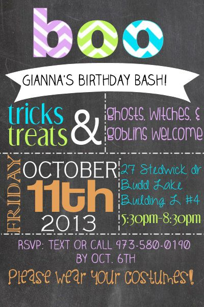 Best Costume Party Images On Pinterest Activities Costume - Halloween birthday invitations etsy