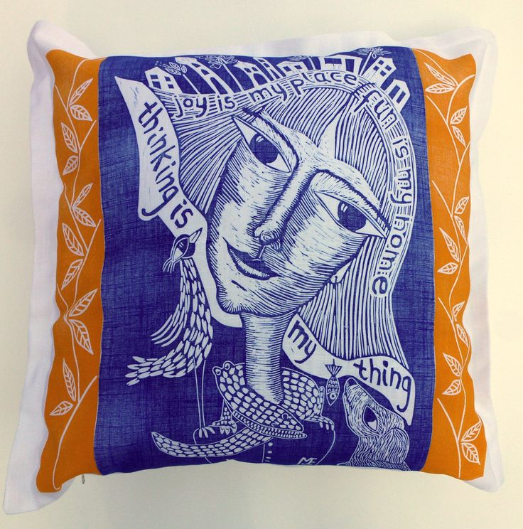 decorative pillow, linocut, home interior, inspirational art, cushion cover, sun, yellow, blue, ultramarine blue, quote, joy, girl, bird by cushioncushion on Etsy