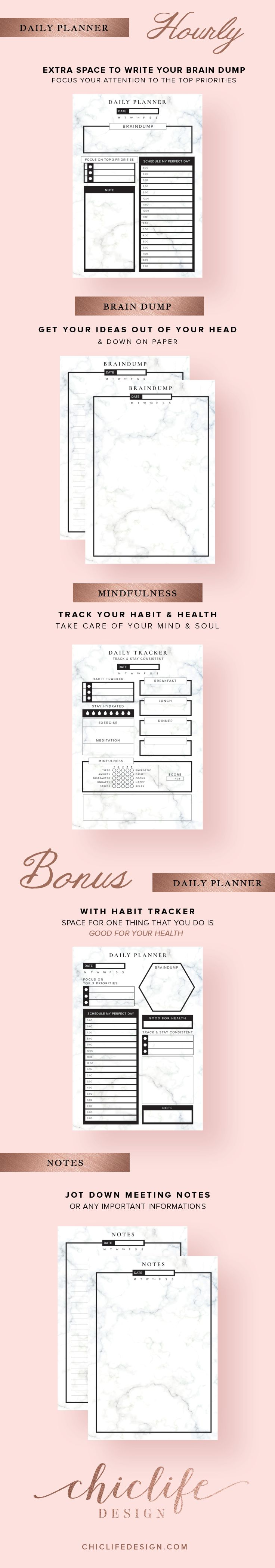 Hourly Daily Planner with marble texture