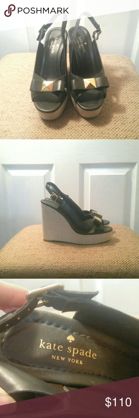 Kate Spade Navy Wedge Gold Bow Only worn once Kate Spade wedges navy blue with gold bow size 6. kate spade Shoes Wedges
