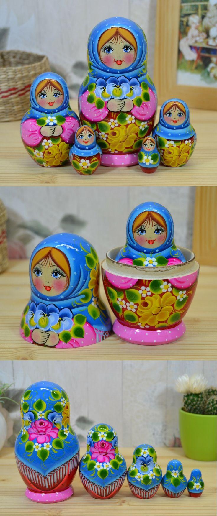 russian babushka doll in blue shawl