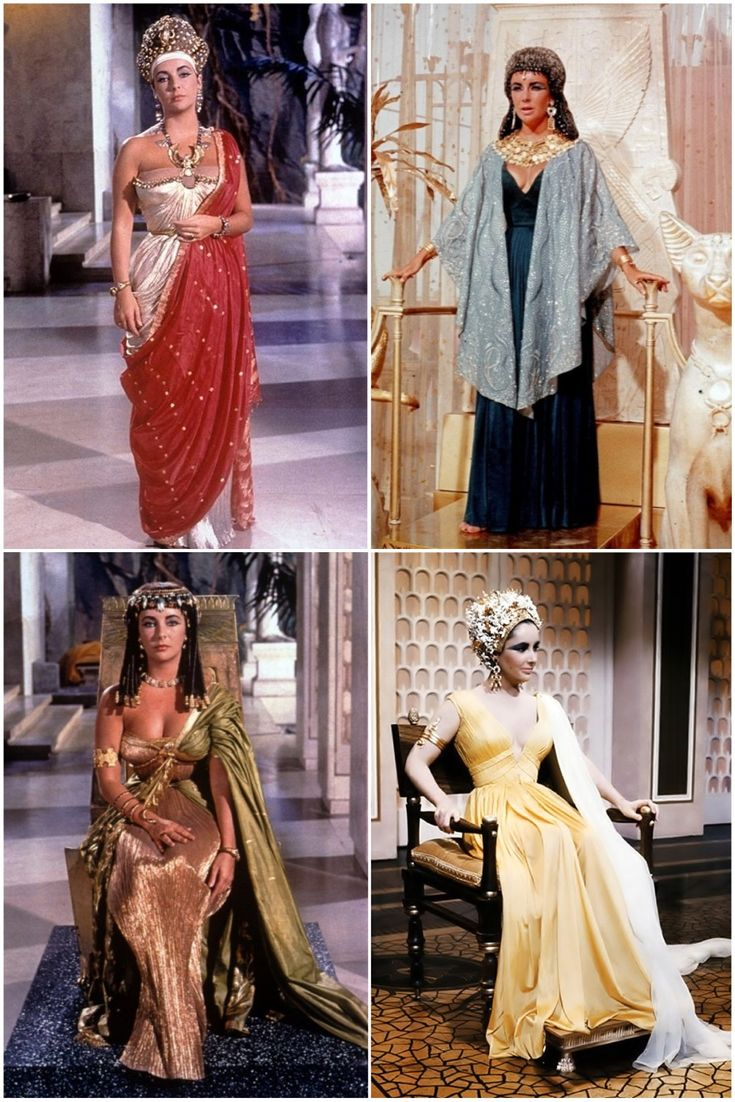 50th Anniversary of #Cleopatra starring Elizabeth Taylor. Taylor's floor sweeping costumes took advantage of a wide array of pleating, beading, and metallics, some fabrics even made of 24k gold.  With no shortage of coin-necklaces, gold bangles, and jewel encrusted snakes, Cleopatra glistened in every jaw-dropping look. Costume Designers: Renie Conley, Vittorio Nino Novarese and Irene Sharaff. Tyranny of Style.