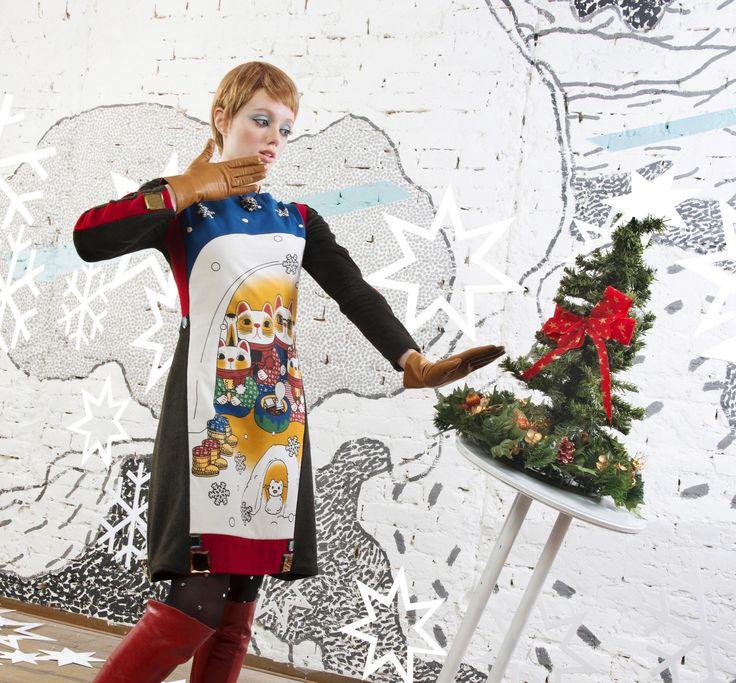 30% Christmas dress pretty printed maneki neko by NATIPUREIDEA