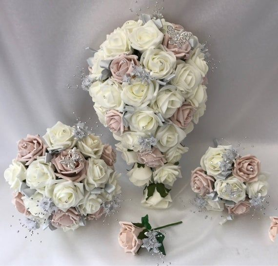 Artificial wedding bouquets flowers sets ivory silver brides posy