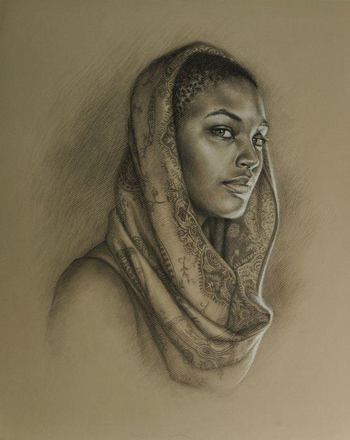 'Sea' by Sara Golish, via Flickr  www.saragolish.com #portrait #drawing #sketch #girl #scarf