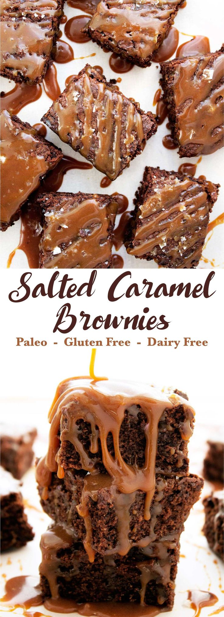 Super decadent, chocolatey, and covered with delicious ooey gooey caramel sauce. The perfect paleo indulgence. Paleo, gluten free, dairy free.