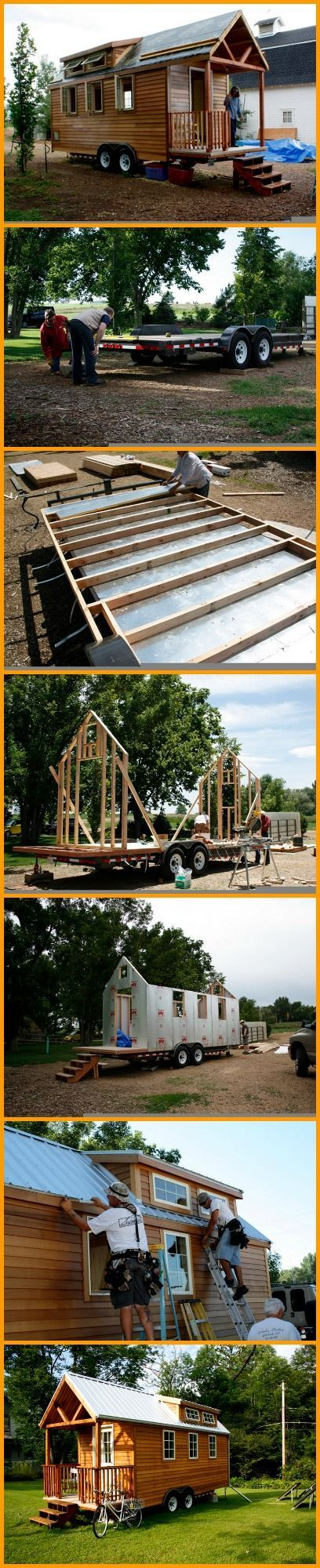 This 22 x 8'6″ home was built on a trailer bed so its owners can transport the entire house. It's a tiny house and a vacation home/cabin all in one. And it's largely solar. | #Offgrid #DIY Tiny Homes