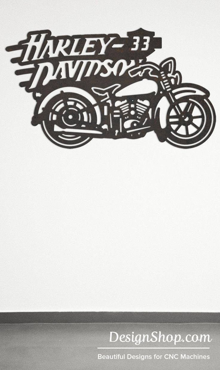 1933 Harley Wall Art - Cut from metal with CNC. This DXF file is designed for CNC Plasma, Laser, or waterjet machines.