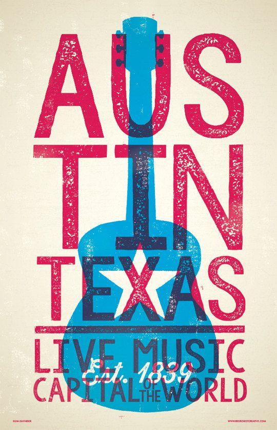 Austin  Live Music Capital  Digital Poster  by RedRobotCreative