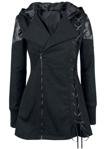 Stylish Hooded Long Sleeve Lace-Up Women's Gothic Vampire Coat