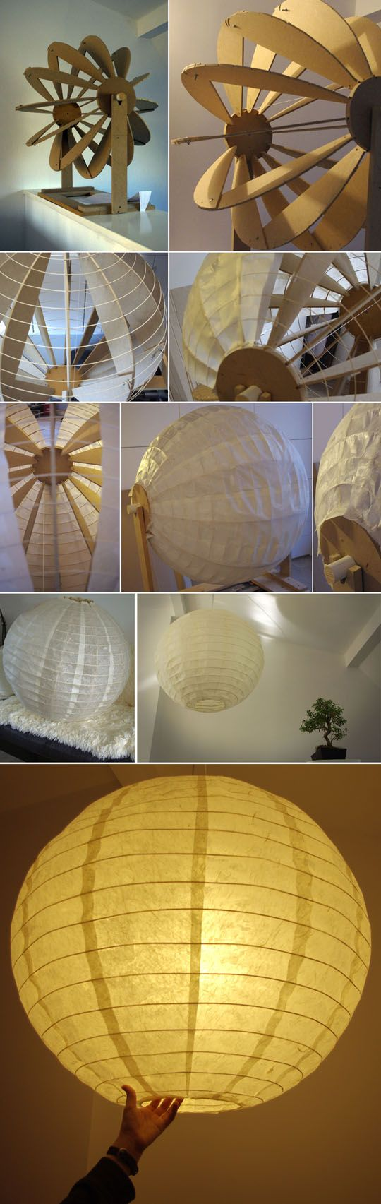 How to build your own big paper lamp, similar to the ones by Isamu Noguchi.