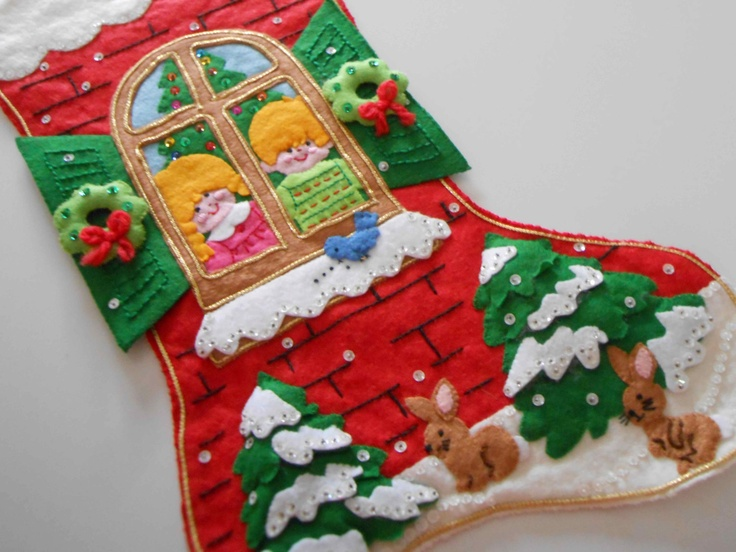Vintage christmas stocking handmade felt sequins 30 00 via etsy