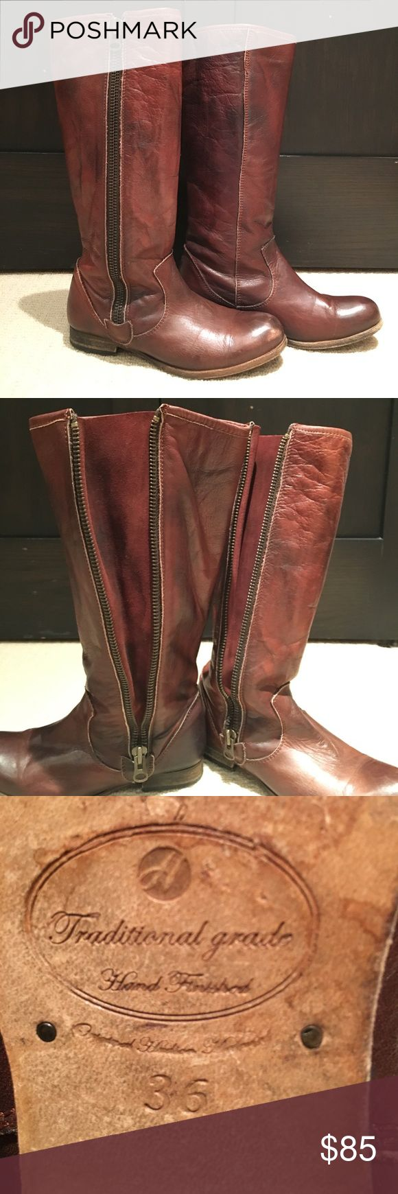 H by Hudson- side zip tall boot- 36 Beautiful, soft brown leather. Side zip can be worn at any height. Great boot for large calfs! Worn only a handful of times, slight wear on outer toe on right boot. H By Hudson Shoes