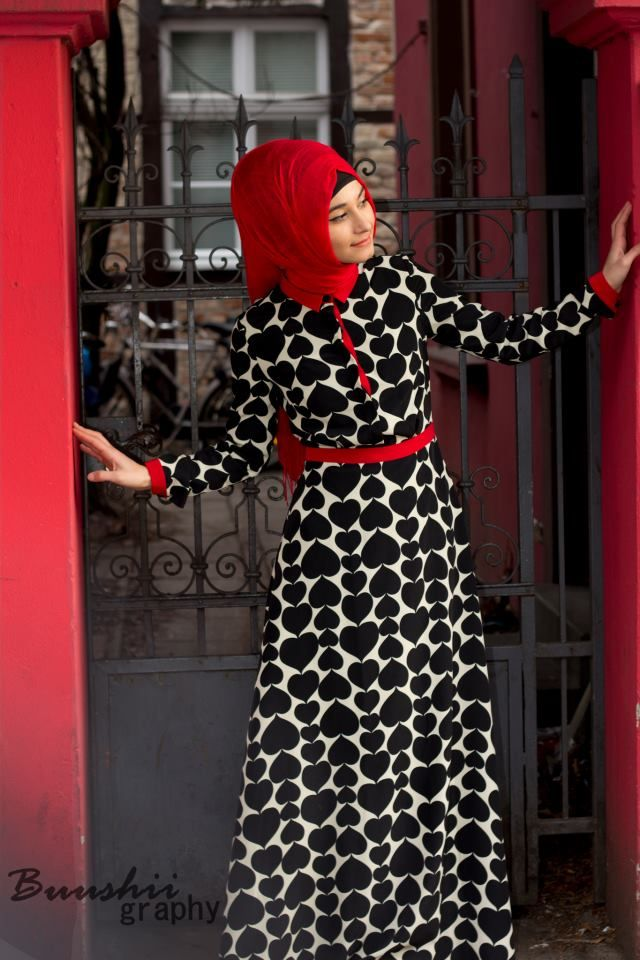 Black, Red & White #Hijab Dress❤️