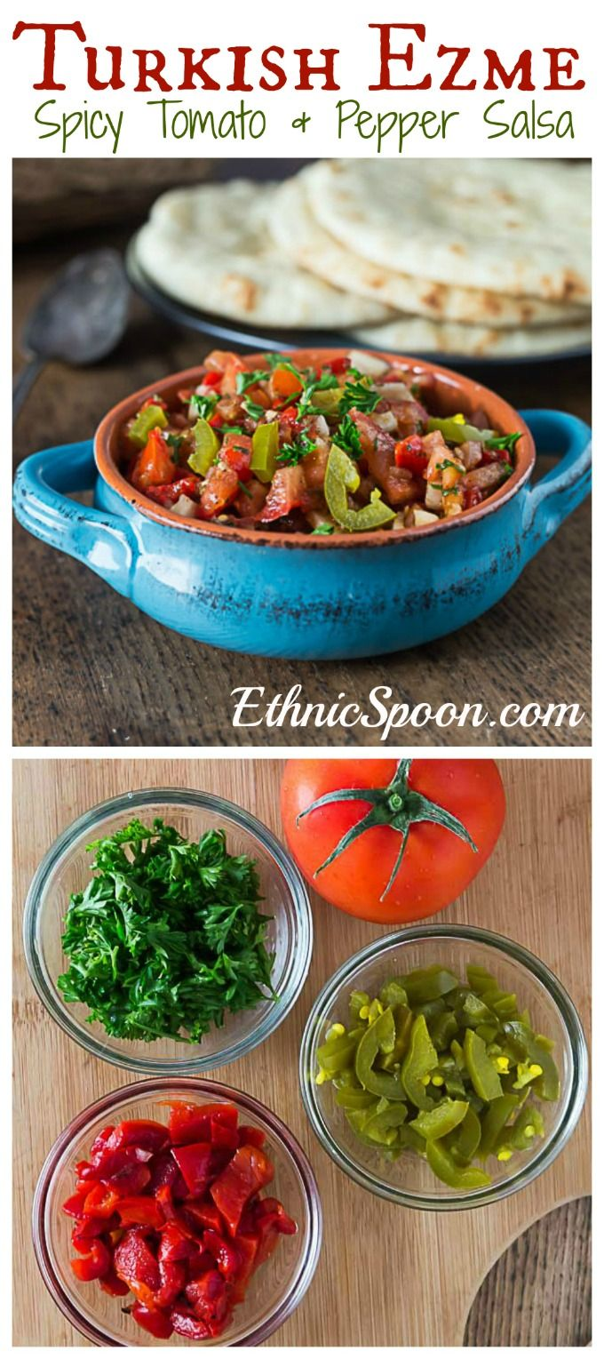 Turkish Ezme: Spicy tomato and pepper salsa | ethnicspoon.com