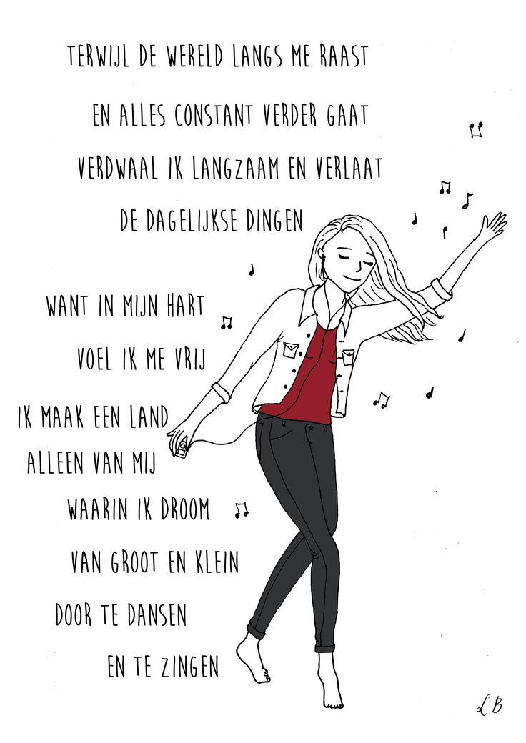 Persoonlijk gedicht met illustratie voor Kim van den Berg. Door Lot Bouwes