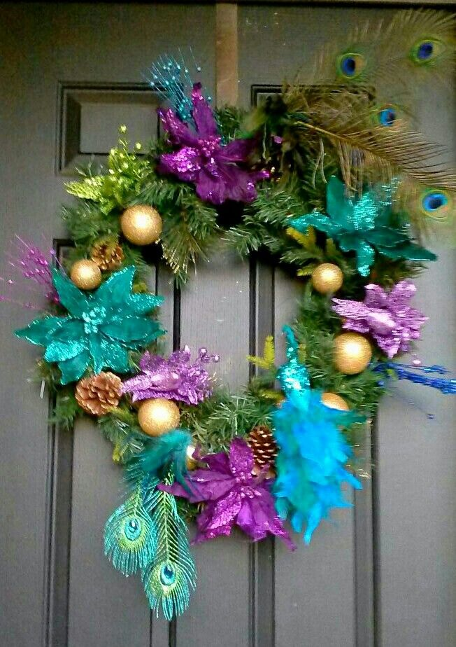 Peacock Christmas Wreath Purple Teal Blue Amp Lime Green