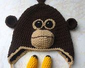 Monkey Hat - Crochet Orangtuan Hat - Crochet Ape Hat - Crochet Monkey Hat with Bananas - Monkey Hat for Adult- Adult Ape Hat - Orangutan Hat - pinned by pin4etsy.com