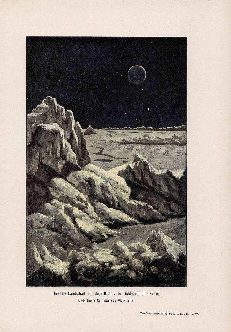 1900 earth view from the moon original antique celestial lunar print no 2. $75.00, via Etsy.