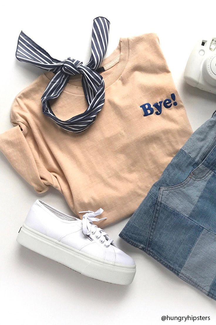 """A knit tee featuring an embroidered """"Bye!"""" chest graphic, short sleeves, and a distressed crew neck."""