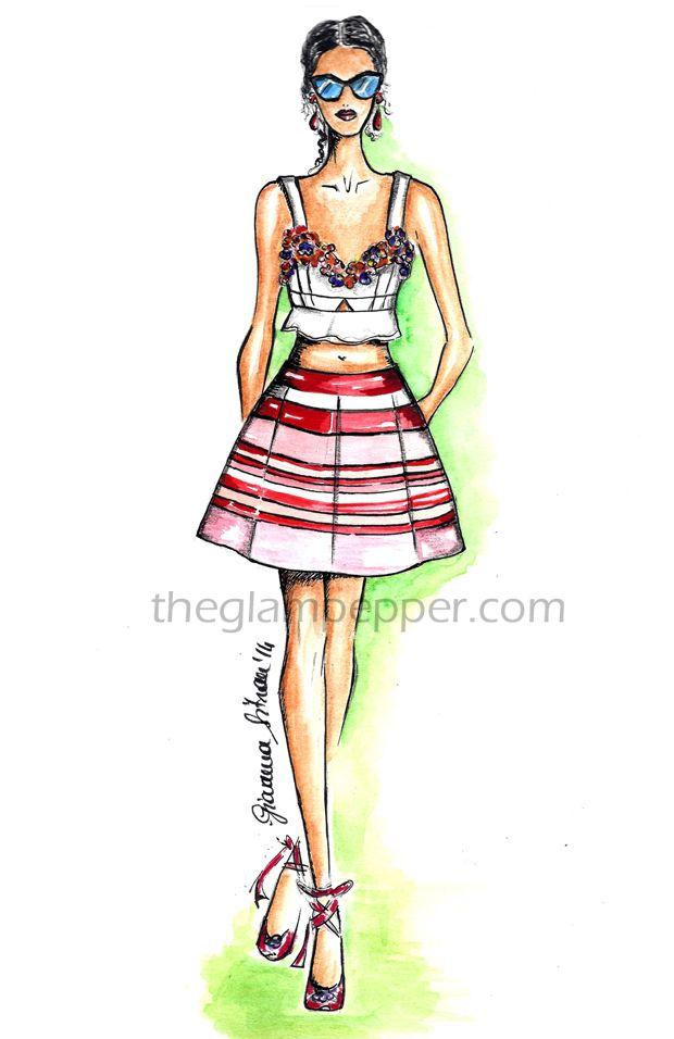 Alberta Ferretti Spring/Summer 2014, fashion illustration, sketches