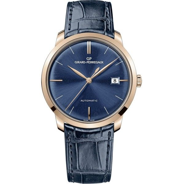 Girard-Perregaux 49525-52-432-bb4a 38mm blue alligator and rose gold... (14,830 CAD) ❤ liked on Polyvore featuring men's fashion, men's jewelry, men's watches, mens rose gold watches and mens blue watches