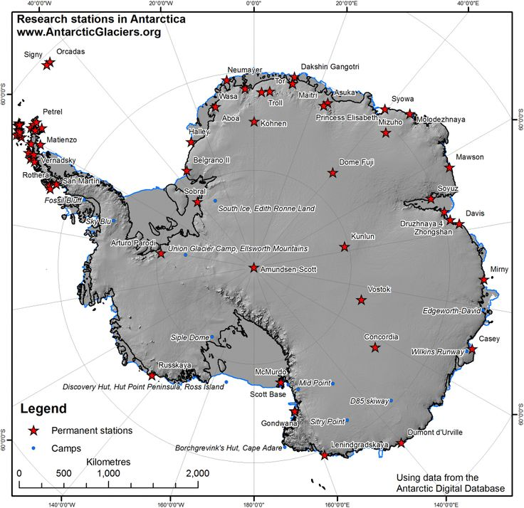 Research stations and summer camps in Antarctica.