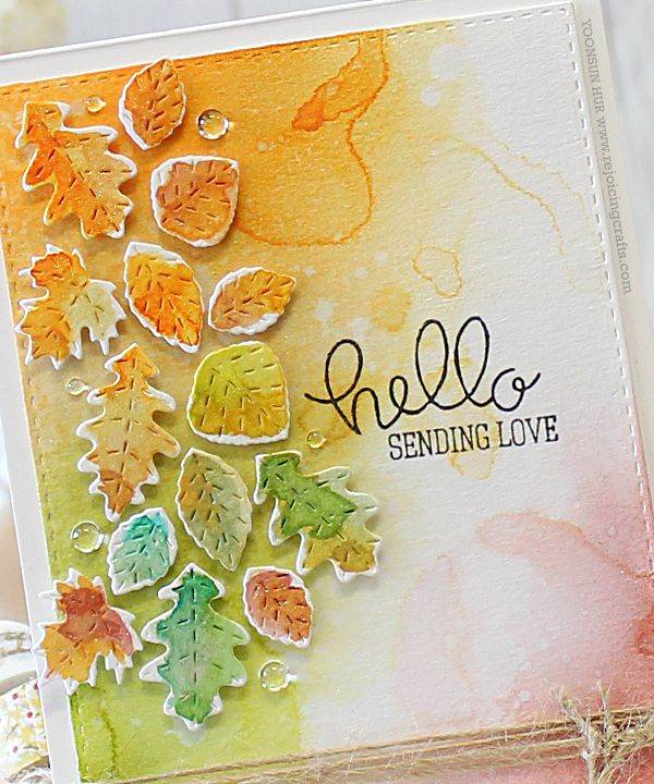 #SSS Stamptember | 1) Die cut many autumn leaves from watercolour paper using Stitched Leaf Wreath die, loosely coloured w DISTRESS INKS using waterbrush. 2) Watercolour #background, I blended onto watercolour panel w several colours of Distress ink using mini blending tool, spritzed with water using Mini Mister. I then added water droplets. (Image 2 of 2) (9.5.15)
