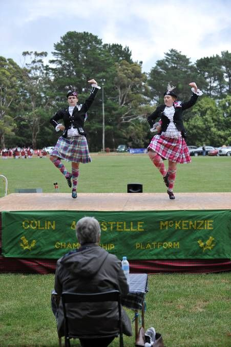 The 63rd Daylesford Highland Gathering. Bridget Rae and Erin Smith compete in the 14 - 16 age group dancing competition. Picture: JULIE HOUGH