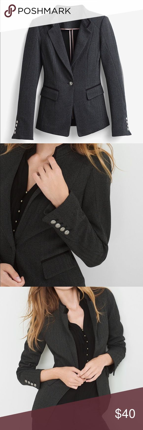 BRAND NEW - WHBM Herringbone jacket Brand new - never been worn - herringbone jacket/blazer. Perfect for a business professional look or dress it down with a pair of jeans and a night out. White House Black Market Jackets & Coats Blazers