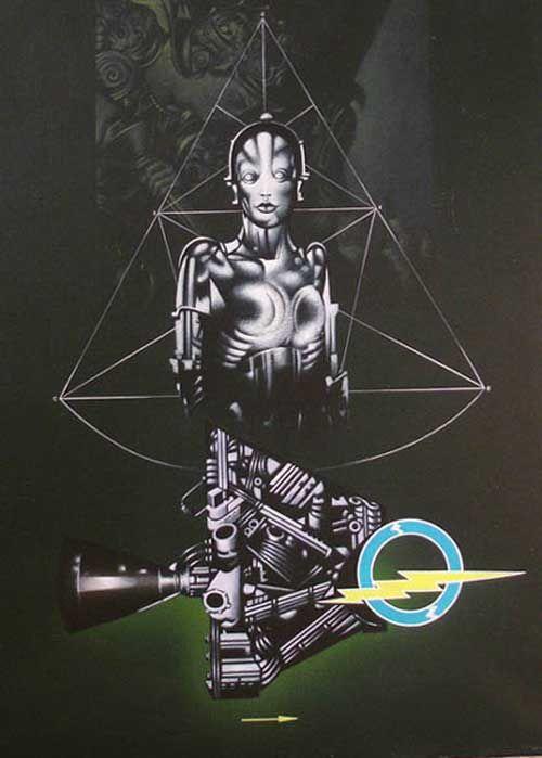 """Sergio Sarri """"Studio per il grande robot (in verde)"""",acrilico su tela, cm 60 X 80, 1981 www.piziarte.net"""