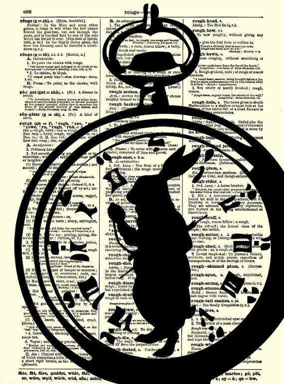 Alice in Wonderland White Rabbit, Im Late Alice in Wonderland Pocket Watch Dictionary Art Print, White Rabbit Art Print via Etsy