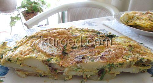Тортилья с картошкой, луком и зеленью