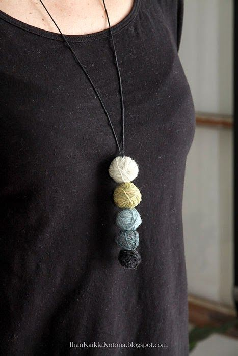 The Knitter Necklace; Yarn wrapped around wooden beads, glued in place as you go, ends tucked inside the bead, strung on necklace string.