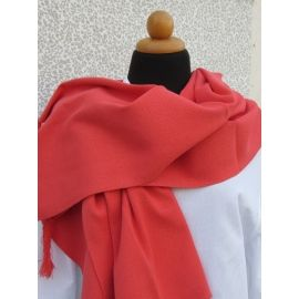 Knitted Shawl - Coral Red