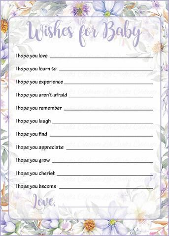 Lavender Floral Garden Baby Shower Game | Printable Wishes for Baby Cards for baby girl shower or tea party shower