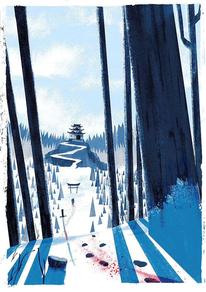 The Fox and King Illustration, environment, forest, snow, winter, japanese, samurai, castle