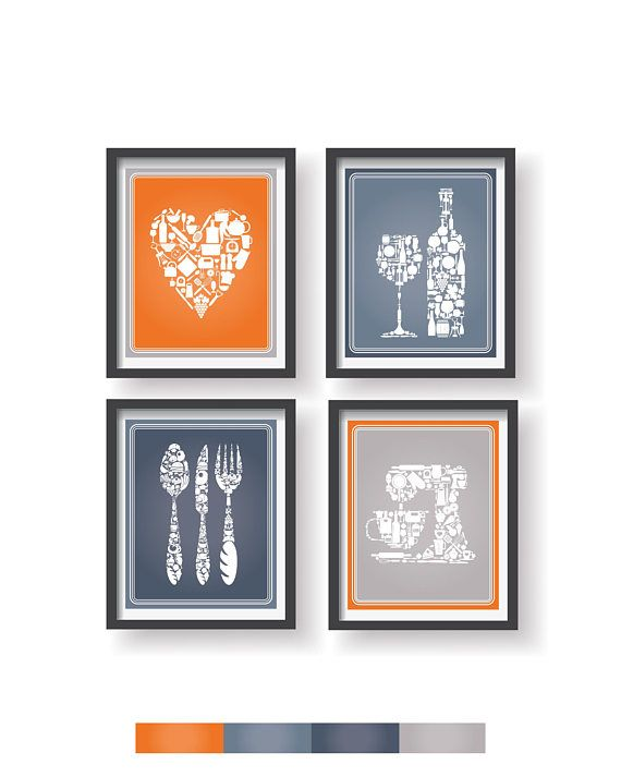 Orange Gray Blue Kitchen Decor 4 Set Kitchen Wall Art Kitchen