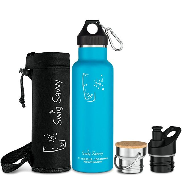 Swig Savvy's Stainless Steel Vacuum Insulated Water Bottle, Double Wall Design,Standard Mouth - with 3 Interchangeable Caps - Including Water Bottle Pouch