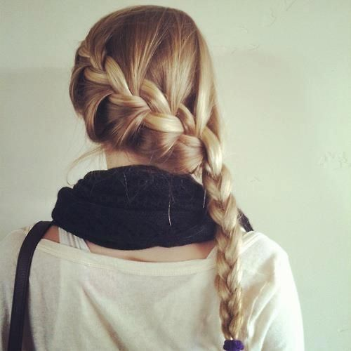 Katnip Braid (: tutorial here https://www.youtube.com/watch?v=CpVnRZJCGhI to get volume use spongy rollers over night (: - if you don't have any go through beautyklove channel on youtube she has alot