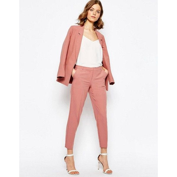 ASOS Ankle Grazer Cigarette Pants in Crepe ($46) ❤ liked on Polyvore featuring pants, brown, tall pants, zipper pants, white zipper pants, asos and zip pants