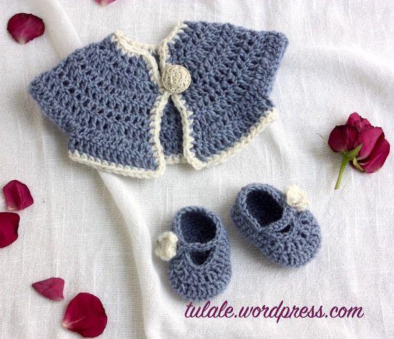 OOAK Waldorf doll clothes: wool blue crochet cardigan and #waldorfdoll #doll #crochetdoll #dollcardigan