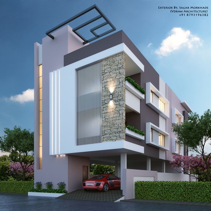 Modern House Bungalow Exterior By, Sagar Morkhade (Vdraw