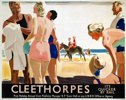 1930 Poster produced for London and North Eastern Railway (LNER) to promote rail travel to Cleethorpes, Lincolnshire. The poster shows some people in swimming costumes on the beach, with a child on a donkey in the background. Artwork by Andrew Johnson.