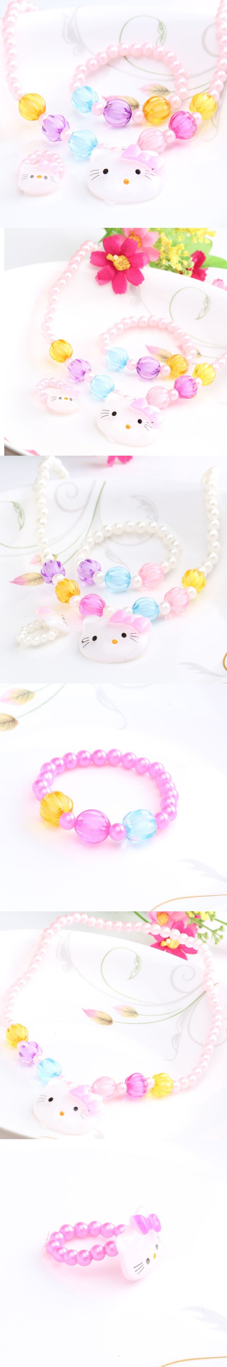 1Set=3pcs Baby Hair Accessories Necklace Headbands Hairpins Baby Hair Band Kitty scrunchy Children Hair Jewelry Accessories